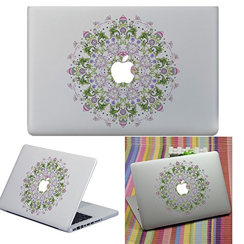 Macbook Aufkleber Abziehbild, YUDA Tech Abnehmbar Blumenkreis Entwurf Vinyl Decal Haut Stickers Passt Perfekt f¨¹r Laptop MacBook Air/Pro/Retina 13 15 Zoll
