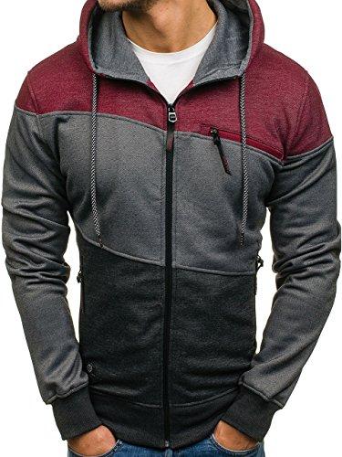 BOLF Herren Kapuzenpullover mit Reißverschluss Pulli sportlicher Stil T&C STAR 2065 Schwarz-Weinrot XL [1A1] (Tasche China-kragen)