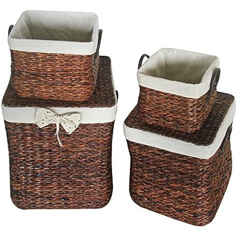 Eshow ratan cesta mimbre de almacenaje con tapa a mano para decoracion en casa tamano grande con cuarto piezas color marron