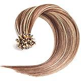 Keratin Bonding Hair Extensions 100% Remy Echthaar Haarverlängerung #4/24 gesträhnt schokobraun honigblond - 100 Strähnen 1 g - 50 cm) U-Tip Extention Remy Qualität by Glamxtensions