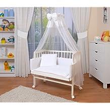 WALDIN Baby Beistellbett komplett mit Ausstattung, höhen-verstellbar, Buche Massiv-Holz weiß lackiert, 8 Farben wählbar