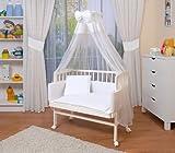 WALDIN Baby Beistellbett komplett mit Ausstattung, höhen-verstellbar, Buche Massiv-Holz weiß lackiert, 14 Modelle wählbar,weiß