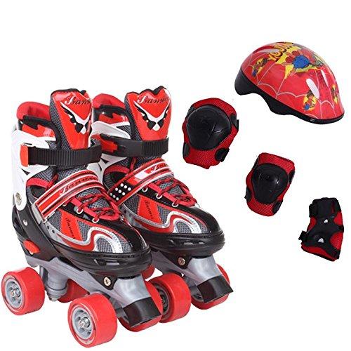 ZCRFY Rollschuhe Einstellbare 4 Räder Inline Skates Kinder Jungen Mädchen Erwachsene Anfänger Flash Doppelräder Skating Schuhe Set 3-6 Jahre Alt,Red-S