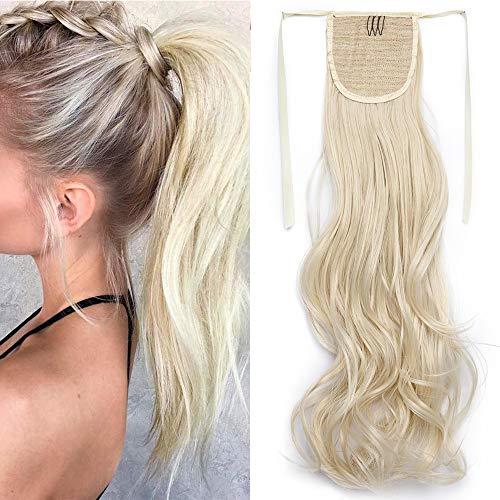 """TESS Pferdeschwanz Haarteil Ponytail Extension Clip in Zopf Haarteil günstig Haarverlängerung Blond Gewellt 18""""(45cm)-90g"""