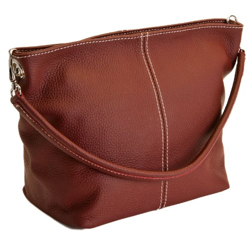 DELARA Piccola borsa shopper in pelle, Made in Italy. Color cachi color mora