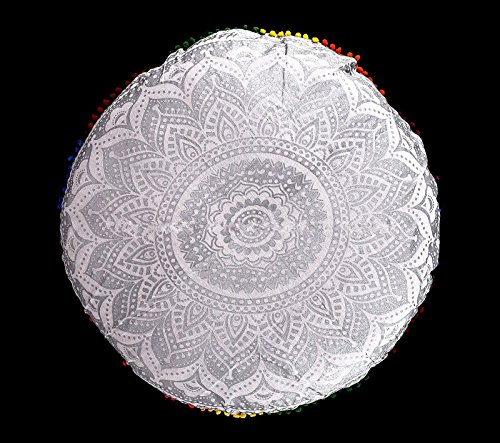 Groß Silber Ombre Mandala Boden Kissenbezug, rund BOHEMIAN Meditation Multi Pom Pom Kissenbezug, Ottomane Puffs Sham, Outdoor Kissen 81,3cm von bhagyoday Fashions