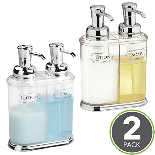 mDesign Refillable Soap Dispenser Duo - Double Pump Soap Dispenser - Hand Wash Dispenser - Made of Plastic with Chrome Pump Head - Approx. 350 ml Capacity - for Kitchens & Bathrooms - Pack of 2