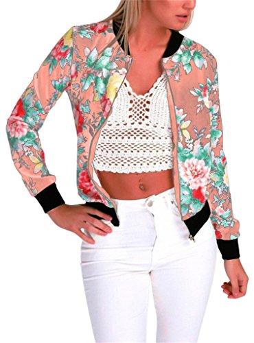 Länge Brust (EUDOLAH Damen Blazer Strickjacke Sweatshirt mit Reissverschluss Streetwear Frühling Herbst Z-Rosa 2XL (Brust: 110cm Länge: 65cm))