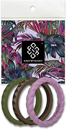 Knot theory - fede nuziale da donna in silicone – oro rosa, argento, rosa, viola, turchese, bianco – regalo per moglie da marito, stackabletrio-passion-9, passion 3-pack, size 9 (2mm bandwidth)