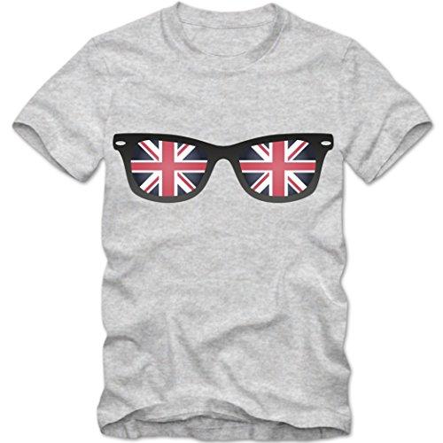 United Kingdom Sonnebrille T-Shirt   Großbritannien Shirt  Brille  Tee © Shirt Happenz graumeliert (grey melange) 01