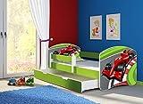 Clamaro 'Fantasia Grün' 160 x 80 Kinderbett Set inkl. Matratze, Lattenrost und mit Bettkasten Schublade, mit verstellbarem Rausfallschutz und Kantenschutzleisten, Design: 06 Formel 1