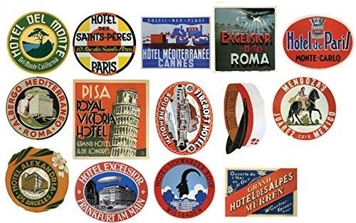 Vintage Hotel Gepäck Label Sticker–14Stück Koffer Reise Aufkleber (Label Vintage Luggage)