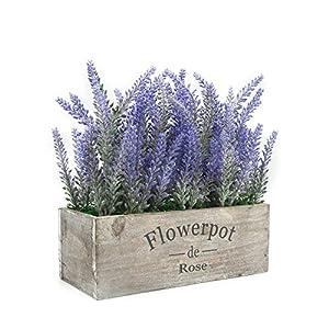 Velener – Planta artificial de lavanda en maceta para decoración del hogar (flor morada, bandeja de madera)