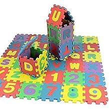 Afombra rompecabezas para niños con letras y números | Tamaño: 17 cm | 36 piezas que se enclavijan by TrendingTemple