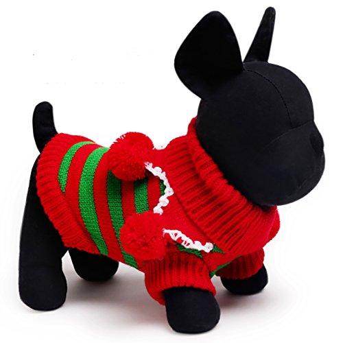 Moolecole Haustier Kostüm Weihnachten Jersey Streifen Sweatshirt Hund Katze Kleider Teddy Komisch Kleider Rot Grün (Halloween Gute Kostüme Männliche)