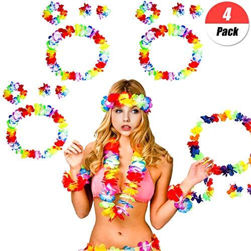 YuChiSX 16 Pièces Tropical Hawaiian Leis Luau Fleurs Hawaïennes Fleurs Leis Guirlandes Bracelets Bandeau Collier Accessoire Décoration pour Hula Danse Soirée de Plage