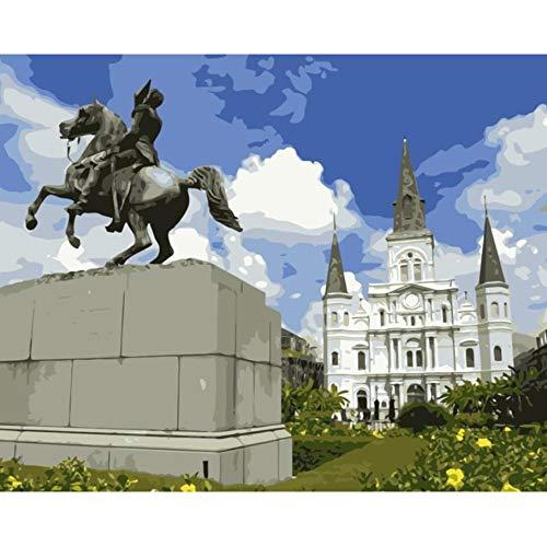 St Louis Statue (YKCKSD DIY Malen Nach Zahlen Jackson Square Und Statue St. Louis Cathedral DIY Färbung Durch Zahlen Wanddekoration Malerei Rahmenlos 40X50CM)