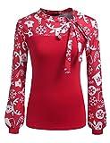 Zeagoo Damen Schluppenbluse Gestreiftes Shirt Blusen Langarmshirt Obertail Frühling Herbst Hemd (Blumen 2, EU 42/XL)