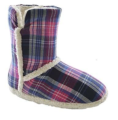 Ladies Pink BlueTartan Bootie Slippers White Chunky Fleece Lining Trim UK 3-4