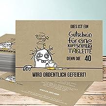 Einladungskarten Geburtstag 40, Hangover 40 5 Karten, Horizontal Einfach  148x105 Inkl. Weiße Umschläge