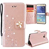 GrandEver Galaxy J5 2016 Case, Galaxy J5 (6) Rose Gold PU Leather Wallet Flip Cover Bling Diamond Rhinestones Butterfly Design Hull Solid Color Design Shell Folio with Card Slots Phone Holder Covers