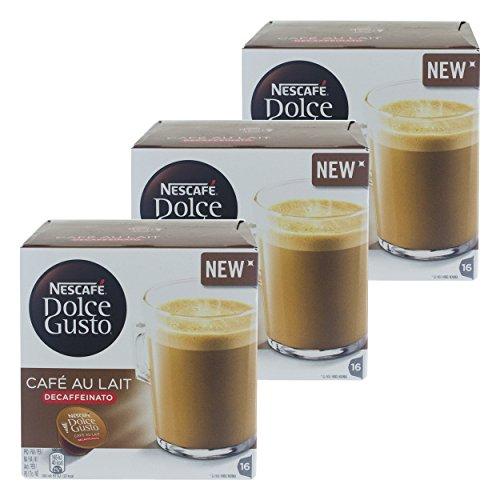 Nescafé Dolce Gusto Cafe au Lait Decaffeinato, Entkoffeinierter Kaffee, Kaffeekapsel, 48 Kapseln