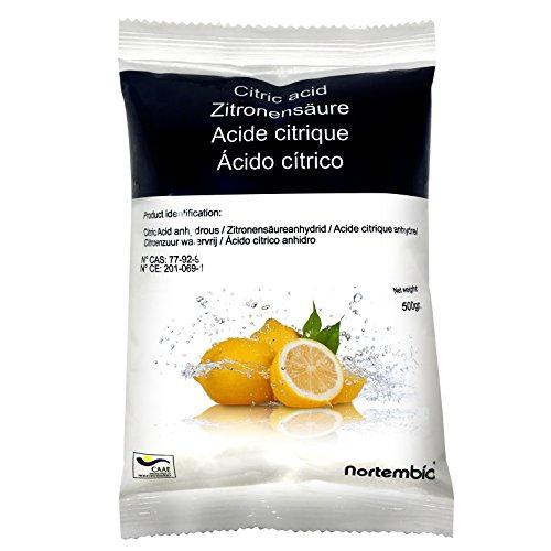 Zitronensäure 500 g, reine Premiumqualität, Wasserfrei Pulver, NortemBio für ökologischen Produktion.