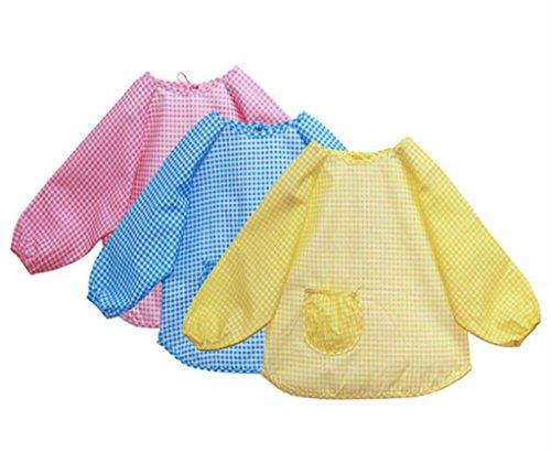 Chilsuessy 3 Stücke Set Baby Lätzchen mit Ärmel Kinder Wasserdicht Ärmellätzchen mit Auffang Tasche Baumwolle 2 Groesse von 1 bis 5 Jahre Alt, M-Laenge 42cm