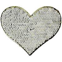 Hosaire Patch DIY Kleidung Patches Mode Herzform Weiße Pailletten Stickerei Tuch Kleidung Aufnäher Bügelbilder für Abzeichen,Kleider,Mantel,Hose Stickerei Applied