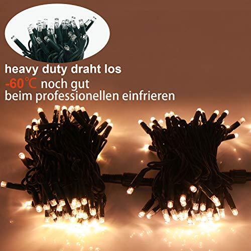 JMEXSUSS 120 Led 16M Weihnachtsfest Lichterketten 220V Wasserfestes Frostschutzmittel Warmes Weiß Draussen Doppelisolierter Gummi Schnur-Licht für Weihnachten, Party, Hochzeit, Outdoor-Dekor