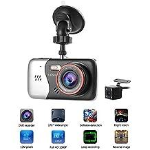 LESHP - Videocámara DVR para coche, Pantalla 4 pulgadas, 170°, HD 1080P, 12M pixeles, Doble Lentes de cámara con visión nocturna
