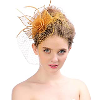 Fascinator Headwear Hats For Women Feather Cocktail Party Hats Bridal Kentucky Derby Headband,Orange