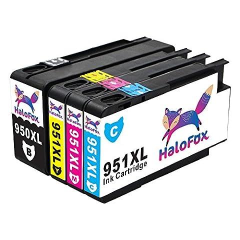 HaloFox 4 Cartouches d'encre 950XL 951XL Compatible pour HP Officejet Pro 8610 8620 8600 Plus 8630 8615 e-ALL-in-One imprimante 8100 ePrinter 251dw 271dw 276dw Multifunction Imprimante Noir Magenta Cyan Jaune