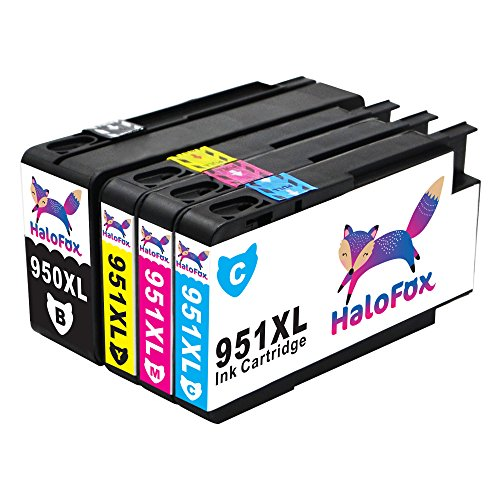 HaloFox 4 Cartouches d'encre 950XL 951XL Compatible pour HP Officejet Pro 8610 8620 8600 Plus 8630 8615 e-ALL-in-One imprimante 8100 ePrinter 251dw 271dw 276dw Multifunction Imprimante Noir Magenta Cyan Jaune