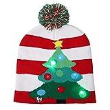 Cappello Natalizio, Cappello con Decorazione Natalizia in Maglia Elastica con luci Colorate a LED Cappelli Invernali