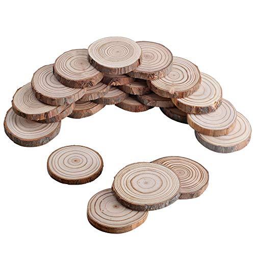 Nahuaa 30pcs Discos Madera cruda Rodajas madera natural