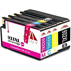 Mony Compatible Cartuchos de Tinta HP 932XL 933XL (1 Negro, 1 Cian, 1 Magenta, 1 Amarillo) Compatible con HP Officejet 6600 6700 7610 7612 7110 6100 Impresoras