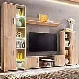 Xingshuoonline Wohnwand für TV mit LED-Beleuchtung Eiche Sonoma TV-Möbel Gesamtmaße: 260 x 30 x 180 cm (B x T x H)
