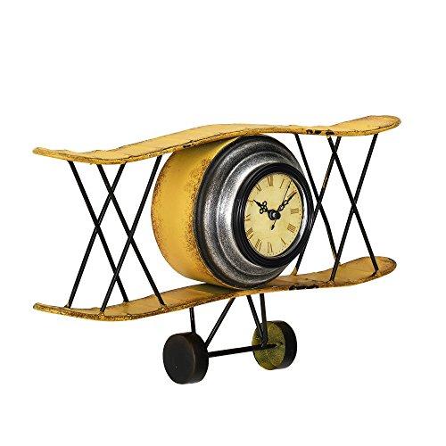 [en.casa]® Dekorative Wanduhr Doppeldecker Flugzeug mit analoger Anzeige - 38 x 7 x 21,5 cm - mehrfarbig (Flugzeug-uhr Wand)