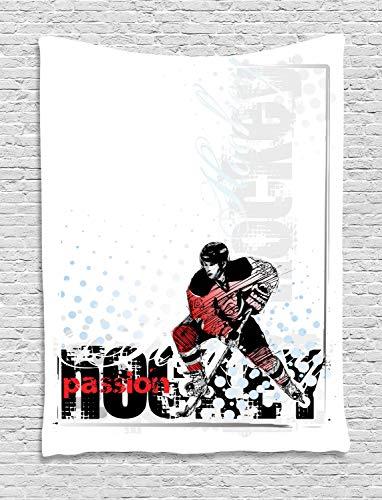 ABAKUHAUS Eishockey Wandteppich, Goalie, der Grafik spielt, Wohnzimmer Schlafzimmer Heim Seidiges Satin Wandteppich, 100 x 150 cm, Mehrfarbig