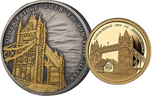 Power Coin Tower Bridge 175 Jubiläum Set Silber Gold 2£ 10$ United Kingdom Solomon Islands 2018 2019 - Zehn-dollar-gold-zertifikat