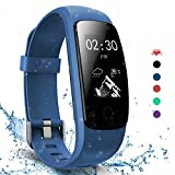 AngelaKerry Slim Touch Wasserdicht Fitness Tracker Mit Herzfrequenz,Smart Fitness Armbanduhr Pulsuhr Schrittzähler,Bluetooth Schwimmen Activity Tracker Gps Für Herren/Damen (Blau)