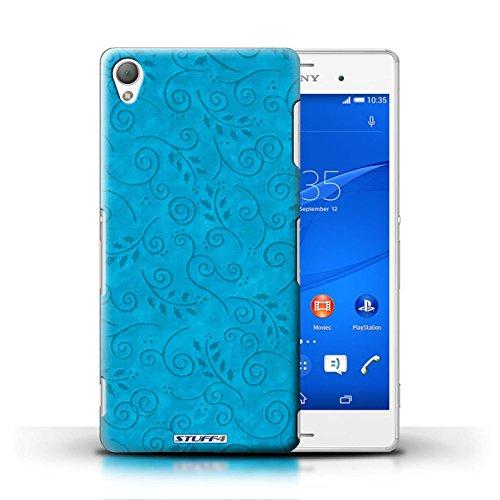 Kobalt® Imprimé Etui / Coque pour Sony Xperia Z3 / Orange conception / Série Motif Feuille Remous Turquoise