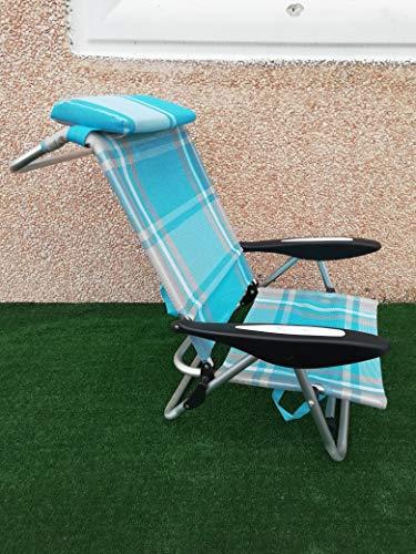 Cosma spiaggina lido lux a 3 posizioni in alluminio e textilene con cuscino