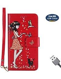 Funda Motorola Moto G4,Funda Cover G4 Plus,Aireratze Slim Case de Estilo Billetera Carcasa Libro de Cuero,Carcasa PU Leather Con TPU Silicona [Material luminoso seguro] [Girl Cat Pattern] para Mujeres niña Case Interna Suave [Función de Soporte] [Ranuras para Tarjetas y Billetera] [Cierre Magnético] para Motorola Moto G4/G4 Plus (rojo) (+ Cable USB)