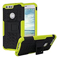 Huawei Honor 8 Back Case, Huawei Honor 8 Armor Case Cover Rosa Schleife Dual Layer Heavy Duty Hybrid Rugged Tough Armor Defender Bumper Soft TPU Gel Interior Hard PC Exterior Shell Kickstand Feature Shockproof Scratch Resistant Phone Case Protective Shell