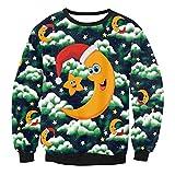Unisex Weihnachten gedruckt lose Sweatshirt Herren Casual Pullover Shirt Tops Bluse Frauen Herbst Winter Party Prom Kostüme (Farbe : 4, Größe : M)