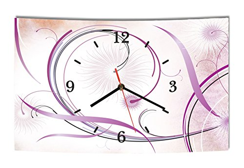 LAUTLOSE Designer Wanduhr Abstrakt Blumen lila weiß modern Dekoschild Abstrakt Bild 38 x 25cm