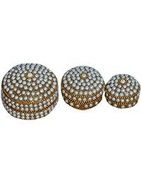 Kuber Industries™ Sindoor Dani Stone & Moti Beaded Jarkan Work|Silver Coin Box|Ethnic Dibbi Set|Jewellery Box|...
