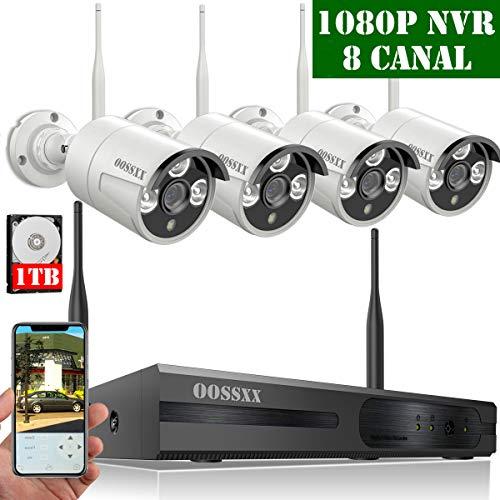 【2019 Neu】 Überwachungskamera System, WLAN Überwachungssystem Set, CCTV 8 Kanal 1080P NVR Outdoor Überwachungssystem Kabellos Mit 4 720P Innen/Außen Überwachungskameras mit Bewegungsmelder, 1TB HDD -